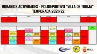 """CUADRANTE DEL PROGRAMA DEL POLIDEPORTIVO """"VILLA DE TORIJA"""""""