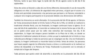 Comunicado conjunto de la Hermandad de Ntra. Sra. del Amparo, Parroquia de Ntra. Sra. de la Asunción y Ayuntamiento de Torija