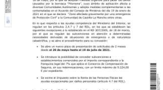 """REAL DECRETO -LEY 10/2021, DE 18 DE MAYO, POR EL QUE SE ADOPTAN MEDIDAS URGENTES PARA PALIAR LOS DANOS CAUSADOS POR LA BORRASCA """"FILOMENA""""."""