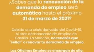 Renovación demanda de Empleo: Hasta el 31 de marzo de 2021.
